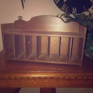 Antique mail slot shelf